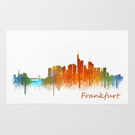 Frankfurt am Main, City Cityscape Skyline watercolor art v2 Rug