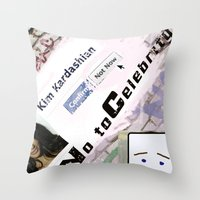 kardashian Throw Pillows featuring Say No to Celebrity - Kim Kardashian by artistically challenged