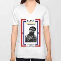 biggie smalls V-neck T-shirts featuring Biggie Smalls for Mayor by tracygrahamcracker