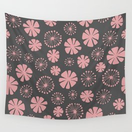 Floral Pattern - pale pink, charcoal gray Wall Tapestry