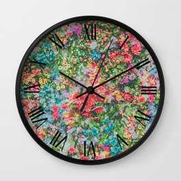 Colorful Variations of Spring Flowers Wall Clock