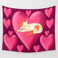 valentines Wall Tapestries featuring valentines day kitten by Agentsassy