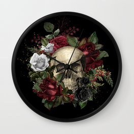 Skulls and Roses Bandana on Black Wall Clock
