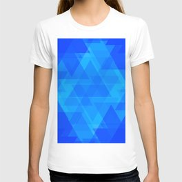 Bright blue and celestial triangles in the intersection and overlay. T-shirt