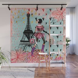 Fashion girl in Paris - Shopping at the EiffelTower Wall Mural