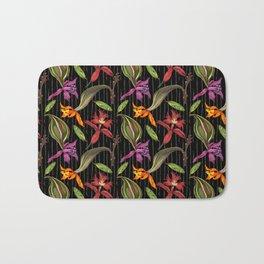 Orchids & Ink (Black Background) Bath Mat