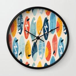 Surfboard white  Wall Clock