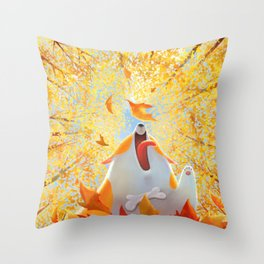 Autumn Corgi Throw Pillow