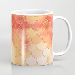 Apricot & Gold Mermaid Scale Pattern Coffee Mug