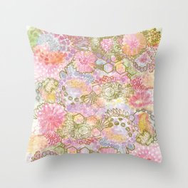 Bubbles, Flowers, and Lace Throw Pillow