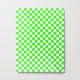 Small Checkered - White and Neon Green Metal Print