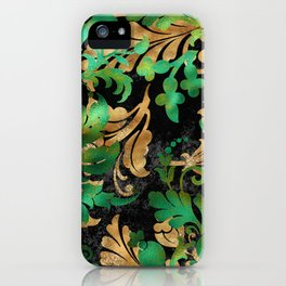 Jungle Floral Neck Gator Green Gold and Black Jungle Flowers iPhone Case