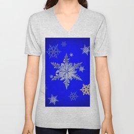 """""""MORE SNOW"""" BLUE WINTER ART DESIGN Unisex V-Neck"""