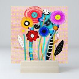 Yellow Polka Dots Floral Bouquet Mini Art Print