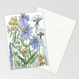 Asters and Wild Flowers Botanical Nature Floral Stationery Cards