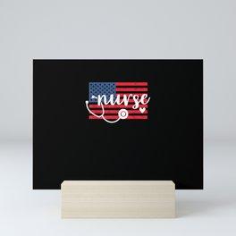 Patriotic American Flag Nurse Shirt - Cute 4th of July RN Mini Art Print