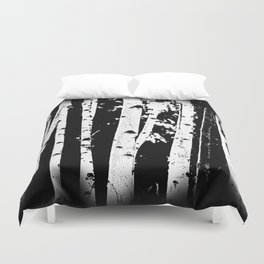 Black and White Birch Trees Fade Out Duvet Cover