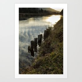 Old Dock Supports Along the Canal Bank - No 2 Art Print