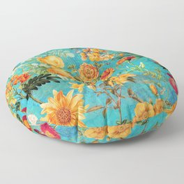 Vintage & Shabby Chic - Blue Botanical Flowers Summer Day  Floor Pillow
