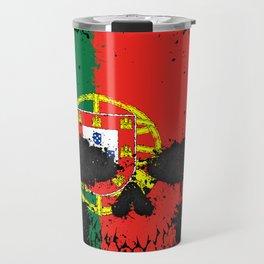 Flag of Portugal on a Chaotic Splatter Skull Travel Mug