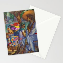 Calla Lily & Sunflower Flower Seller on Aztec Canel of Xochimilco, Mexico portrait painting Stationery Cards