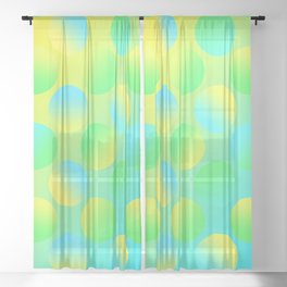 Gradient Polka Dots (Yellow and Green and Blue)! Sheer Curtain