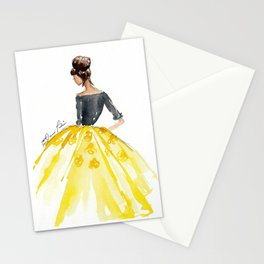 Sunny Spring Yellow Skirt Fashion Illustration Stationery Cards