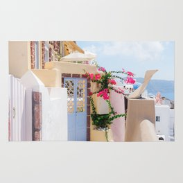 Charming Narrow Lane on Oia Santorini Greece Rug