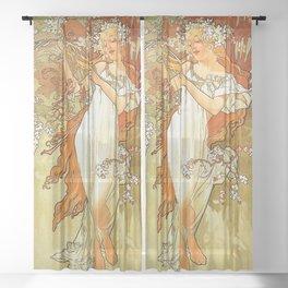 Alphonse Mucha Spring 1896 Sheer Curtain