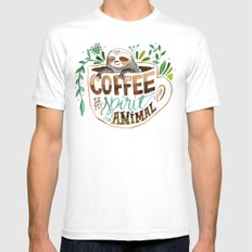 Coffee is my spirit animal White MEDIUM Mens Fitted Tee
