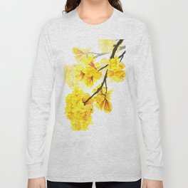 yellow trumpet trees watercolor yellow roble flowers yellow Tabebuia Long Sleeve T-shirt