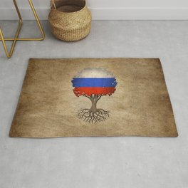Vintage Tree of Life with Flag of Russia Rug