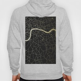 London Black on Gold Street Map Hoody