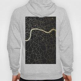 London Black on Gold Street Map Hoody