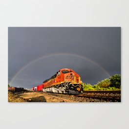 BNSF Train with Rainbow at Henrietta Missouri Canvas Print