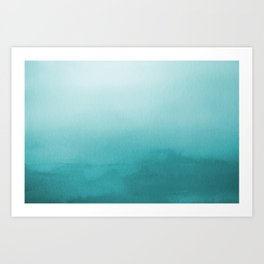 Aqua Teal Turquoise Watercolor Ombre Gradient Blend Abstract Art - Aquarium SW 6767 Art Print