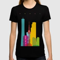 Shapes of Seoul accurate to scale Black Womens Fitted Tee SMALL