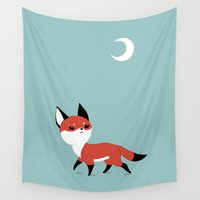 fox Wall Tapestries featuring Moon Fox by Freeminds