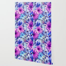 Dark pink and blue floral pattern Wallpaper
