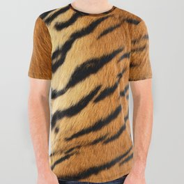 Faux Siberian Tiger Skin Design All Over Graphic Tee
