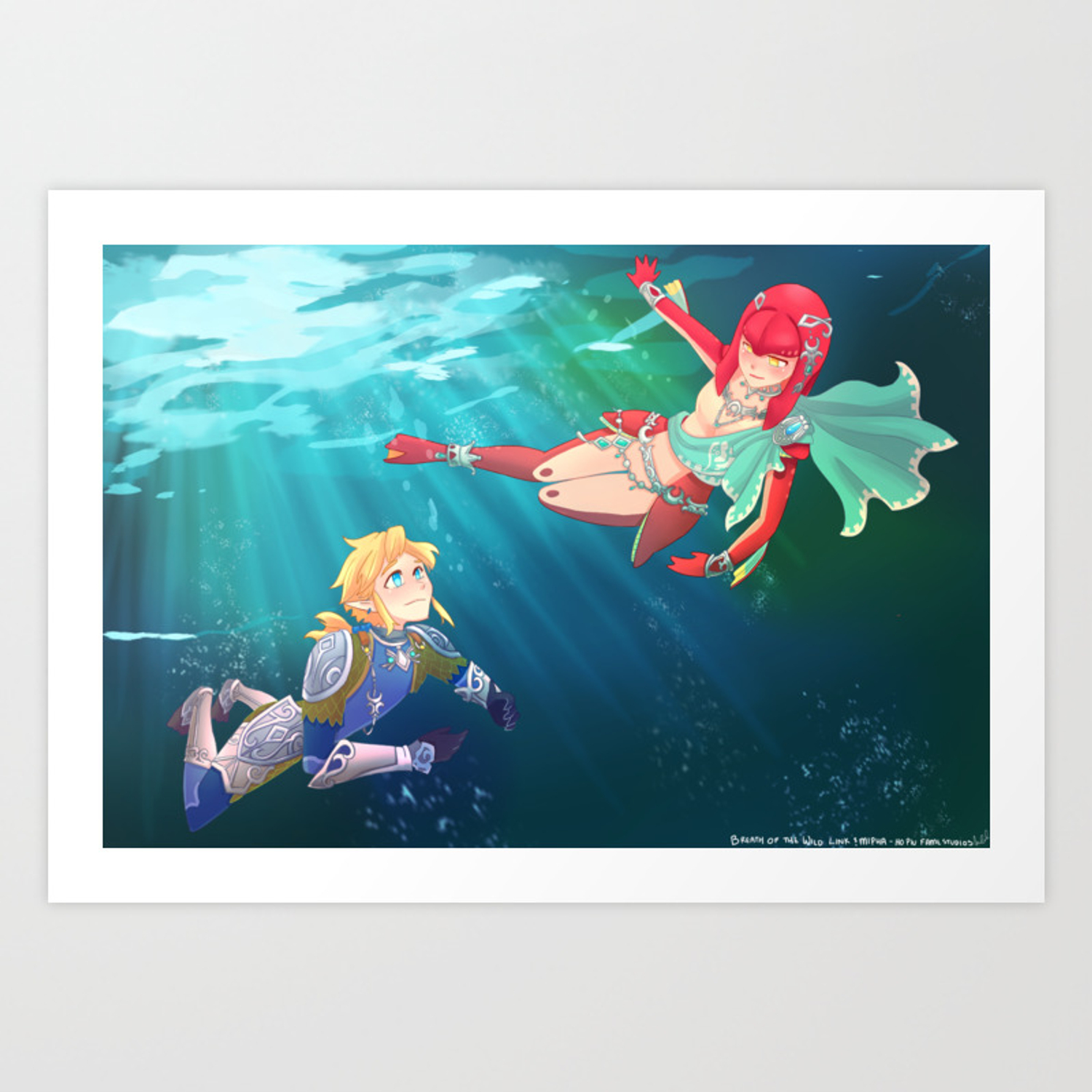 Link And Mipha Breath Of The Wild Art Print By Hopiufamestudios
