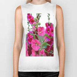 PINK- PURPLE COTTAGE  HOLLYHOCKS WHITE & GREY GARDEN Biker Tank