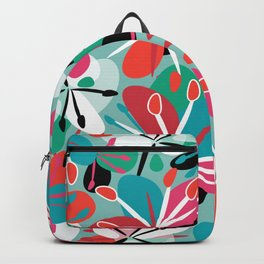 Contemporary composition of colorful abstract flowers on a light green background, cheerful and colo Backpack