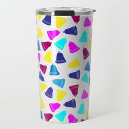 Colorful neon pink teal blue Christmas bells Travel Mug