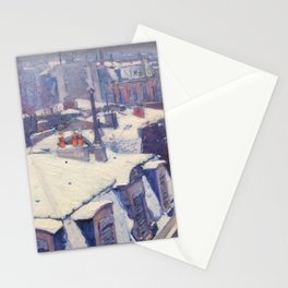 """Gustave Caillebotte """"Vue de toits (Effet de neige) - View of roofs (Snow effect)"""" Stationery Cards"""