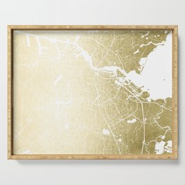 Amsterdam Gold on White Street Map Serving Tray