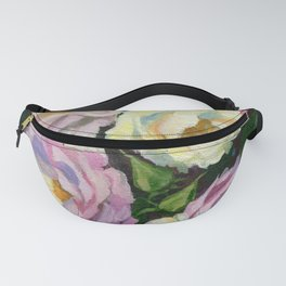 White Pink Roses Garden Flowers gouache painting Fanny Pack