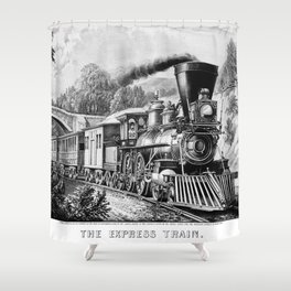 The Express Train: Currier & Ives 1870 Shower Curtain