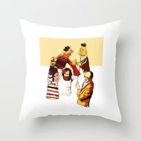 muppets Throw Pillows featuring Bert & Ernie Muppets by joshuahillustration
