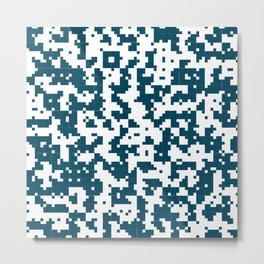 Small Pixel Big Pixel - Geometric Pattern in Dark Blue Metal Print